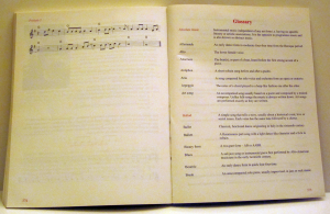 Sample of text layout including a Glossary of Terms by Playright Music Ltd.
