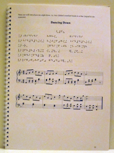 Work sample of design and typesetting of a text book, involving common music notation and Braille music, by Playright Music Ltd., Dublin