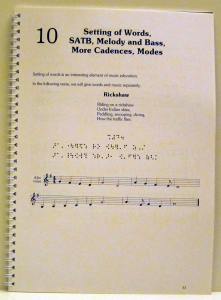 Work sample of design and typesetting of a text book, involving common music notation and Braille music, by Playright Music Ltd., Dublin + London